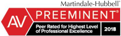 Martindale-Hubbell | Av | Preeminent | peer rated for highest level of professional excellence | 2018